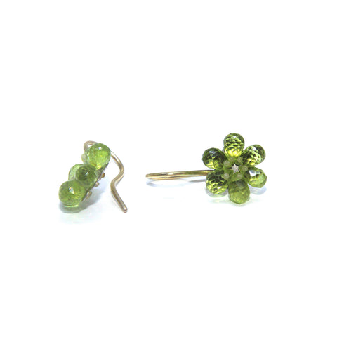 Sophia Epp Flower 18ct Yellow Gold Peridot Silver Earrings