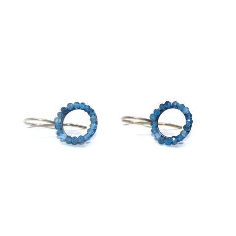 Sophia Epp Mini Circle Turkish Patitte Oxidized Silver Earrings