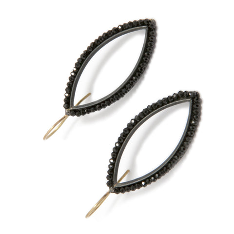 Sophia Epp 'Navette' Marquise Black Spinel Yellow Gold Wire Oxidised Silver Earrings