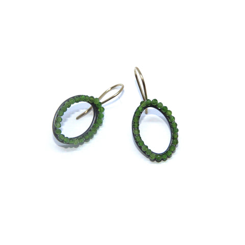 Sophia Epp Small Oval Chrome Diopside Oxidized Silver Earrings