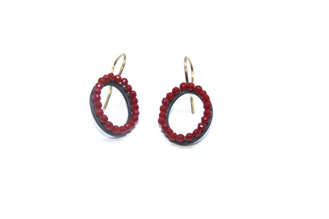 Sophia Epp Oval Coral Oxidized Silver Earrings