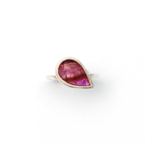 Stephanie Robinson 14ct Yellow Gold Pink Tourmaline Silver Ring