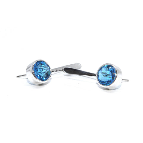 Stephanie Robinson 'Checkerboard' Swiss Topaz Drop Silver Earrings