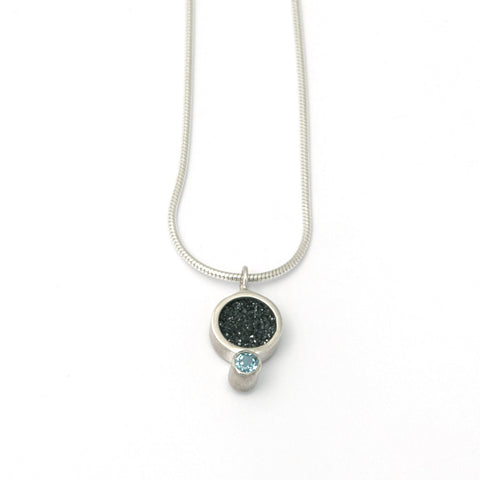 Stephanie Robinson Reversible Pendant Black Dusty Quartz Swiss Blue Topaz Silver Necklace