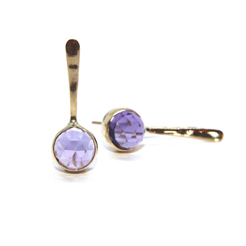 Stephanie Robinson 'Rose Cut' Amethyst Drop 14ct Yellow Gold Earrings
