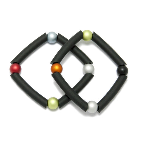 Ursula Miller Black Rubber Multi Colour Aluminium Sphere Bracelet
