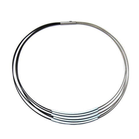 Ursula Miller Steel Grey Black Five Light Blue Tube Aluminium Necklace