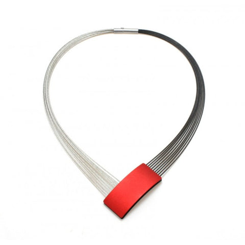 Ursula Muller Angular Red Aluminium And Stainless Steel Necklace