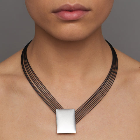 Ursula Muller Angular Silver Champagne Aluminium Stainless Steel Necklace