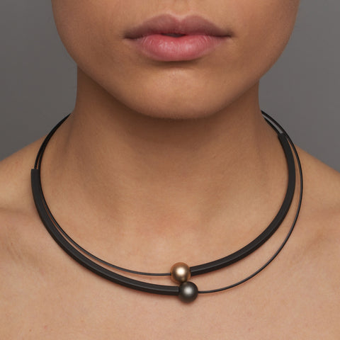 Ursula Muller Black Rubber Bronze And Black Balls Aluminium Necklace