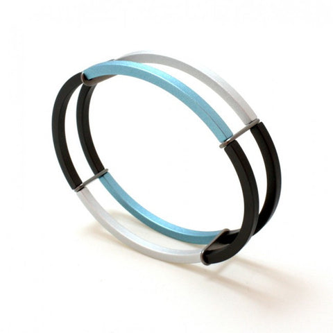 Ursula Muller Blue & Grey And Silver Aluminium Double Bracelet