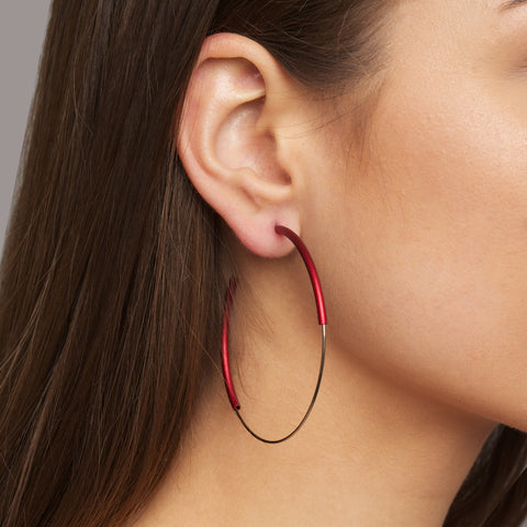 Ursula Muller Red Aluminium and Stainless Steel Hoop Earrings