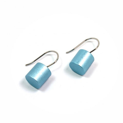 Ursula Muller Light Blue Roller Aluminium Stainless Steel Earrings