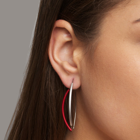 Ursula Miller Metallic Red Aluminium Silver Earrings
