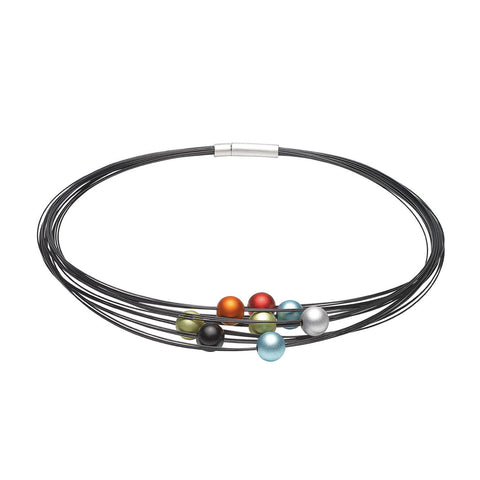 Ursula Muller 'Multicolour' Beaded Black Stainless Steel Necklace