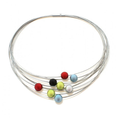 Ursula Muller Multicolour Aluminium Balls Stainless Steel Necklace