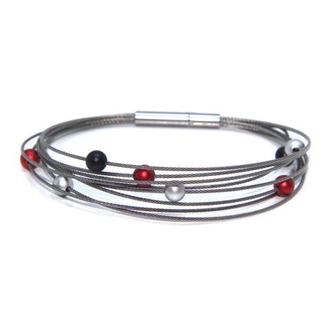 Ursula Muller 'Multicolour' Black Red Silver Balls Stainless Steel Bracelet