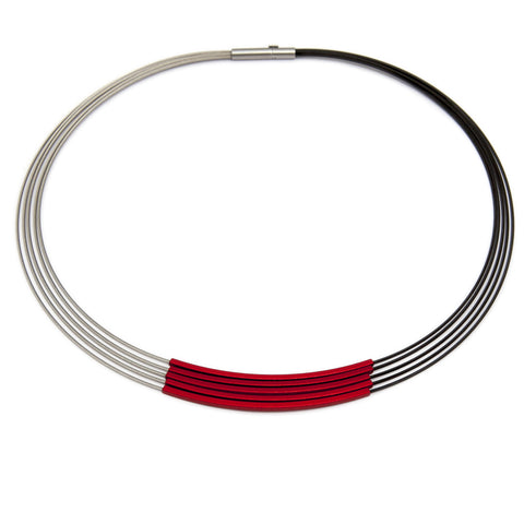 Ursula Muller Red Square Tube Black Stainless Steel Aluminium Necklace