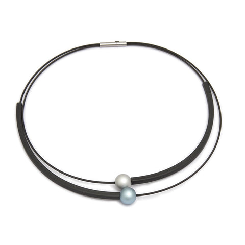 Ursula Muller Rubber Blue Aluminium Stainless Steel Necklace