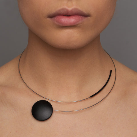 Ursula Muller Stainless Steel And Black Disc And Curved Tube Necklace