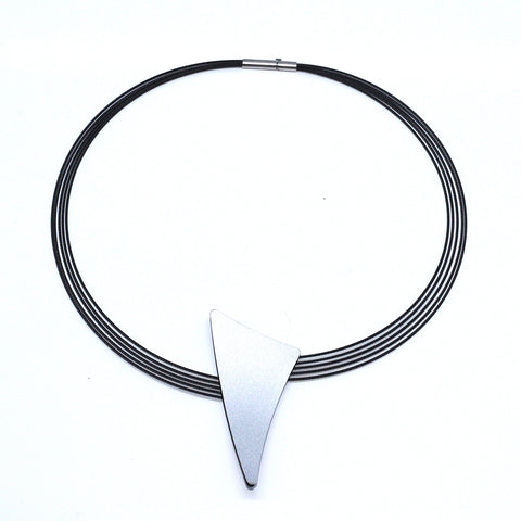 Ursula Muller Stainless Steel Antracite & Aluminium Detail Black And Silver Necklace