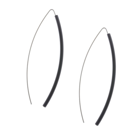 Ursula Muller Stainless Steel Black Aluminium Earrings
