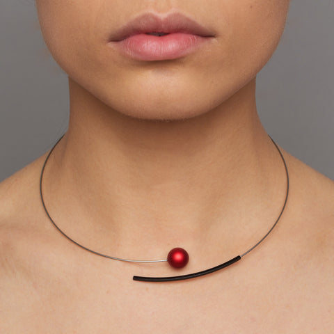 Ursula Muller Stainless Steel Red Bead And Black Curved Tube Necklace