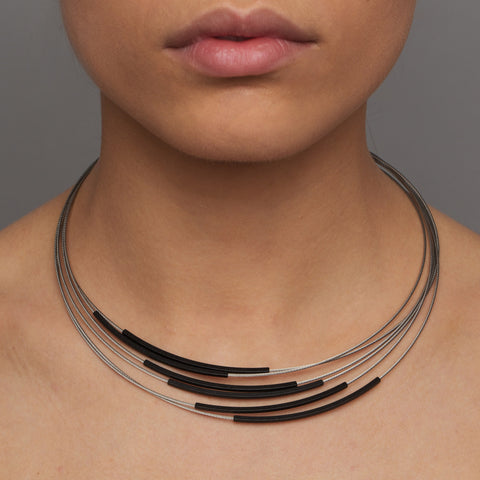 Ursula Muller Stainless Steel Grey 6 Black Tube Aluminium Necklace