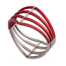 Ursula Muller Red And Grey Anodised Aluminium Bracelet