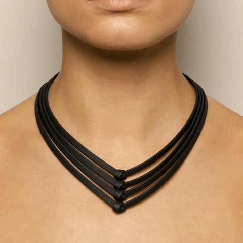 Ursula Muller Black Rubber Necklace