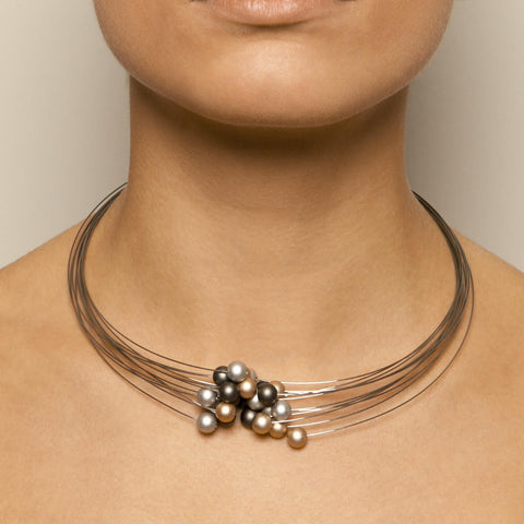 Ursula Muller Stainless Steel Grey Aluminium Necklace 1