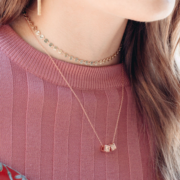 Le Bloc XO Necklace Rose Gold