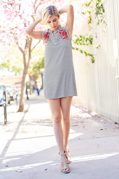 Striped Sleeveless Dress with Floral Applique