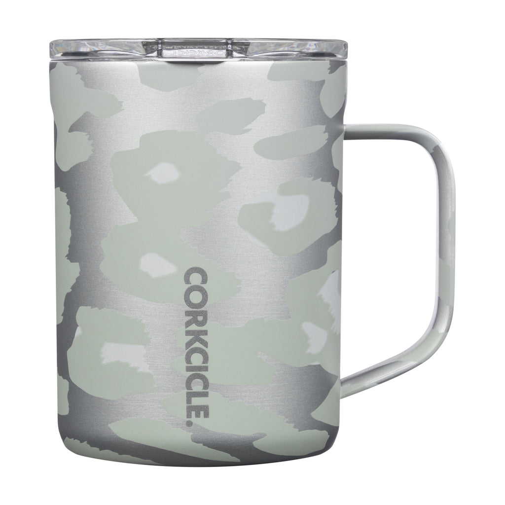 16 oz. Corkcicle Coffee Insulated Mug Snow Leopard