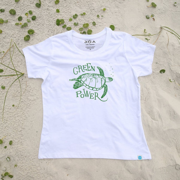 Green Power Sea Turtle Recycled Shirt White