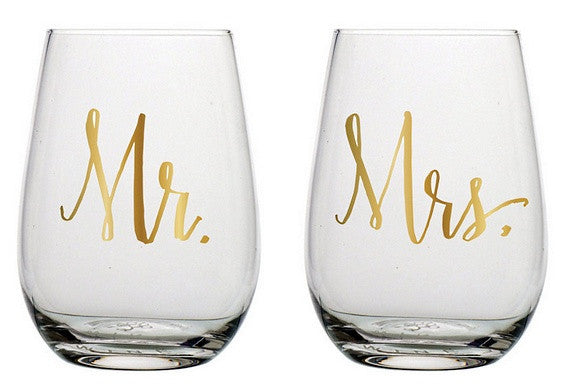 Mr. and Mrs. Stemless Wine Glass Set