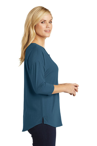 Concept 3/4-Sleeve Soft Split Neck Top