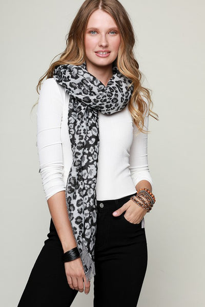 Leopard Print Scarf with Fringe Black