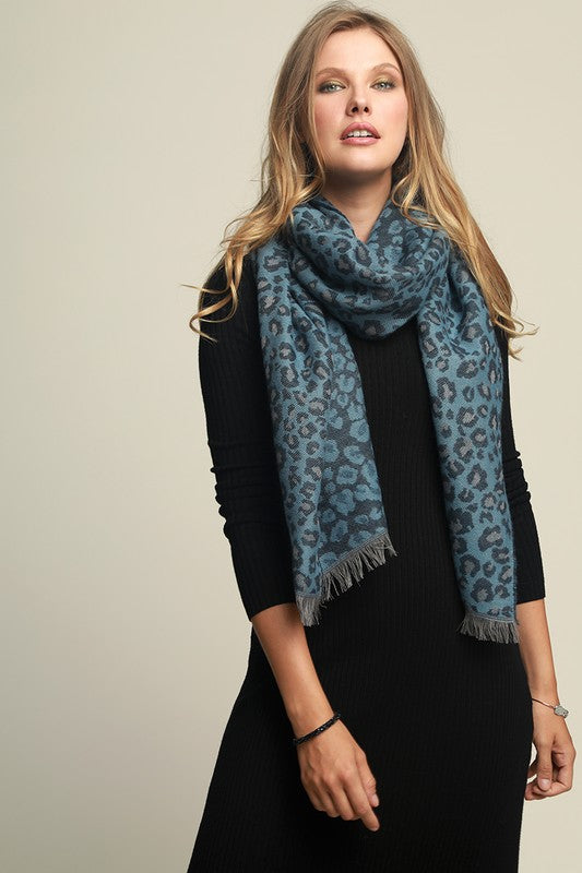 Leopard Print Scarf with Fringe Blue