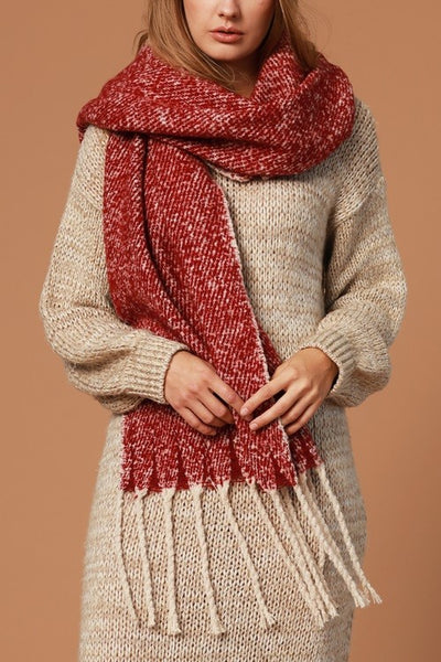 Boucle Scarf with Long Fringe Burgundy