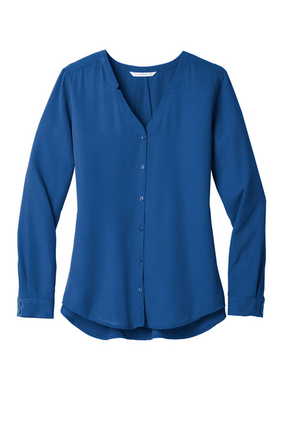Long Sleeve Button-Front Blouse