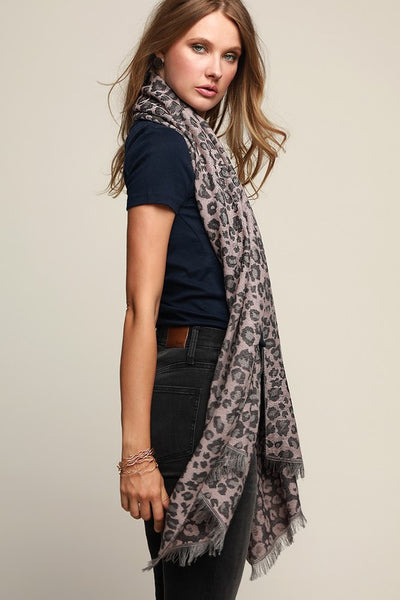 Leopard Print Oblong Scarf with Fringe