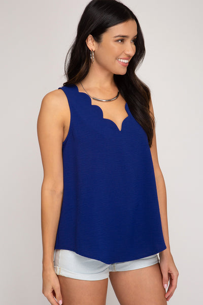 Sleeveless Top with Scalloped Neckline