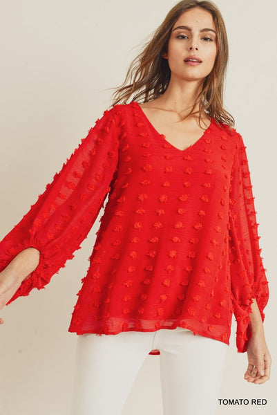 Chiffon Swiss Dot Pattern ¾ Bubble Sleeve Top