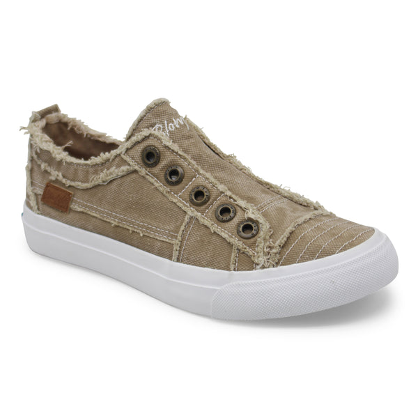 Blowfish Play Frayed Canvas Sneakers Cream Coffee