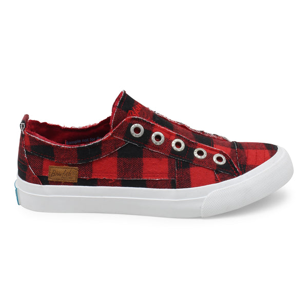 Blowfish Play Frayed Canvas Sneakers Red Buffalo Check
