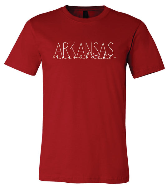Bella + Canvas Arkansas Razorbacks Crew-Neck T-Shirt Red