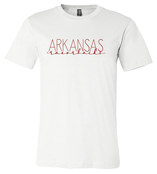 Bella + Canvas Arkansas Razorbacks Crew-Neck T-Shirt White