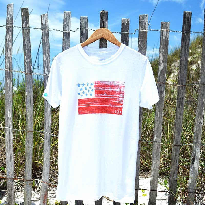 USA Flag Recycled Shirt White