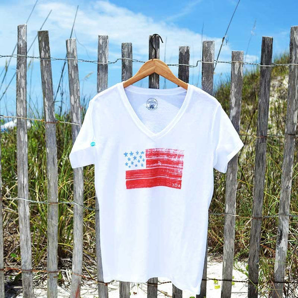 Women's USA Flag Recycled Shirt White